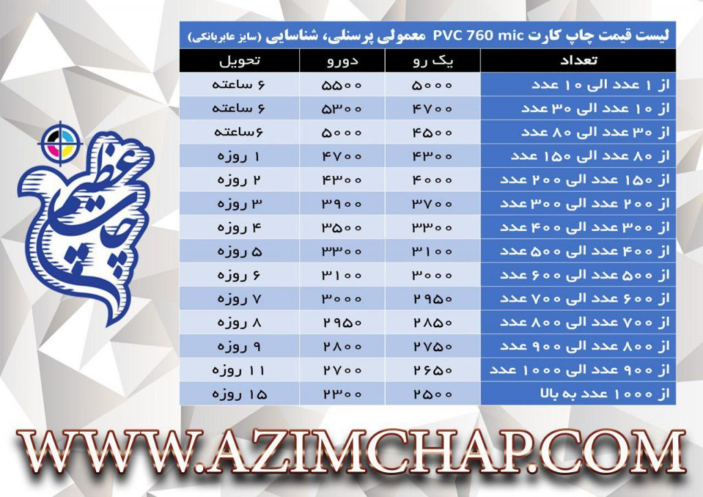 لیست قیمت چاپ کارت pvc 760 mic معمولی، پرسنلی، شناسایی (سایز عابر بانکی)